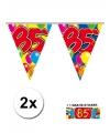 2x vlaggenlijn 85 jaar met gratis sticker