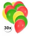 30x Ballonnen groen geel rood