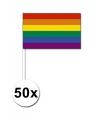50 regenboog zwaaivlaggetjes 12 x 24 cm