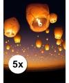 5x witte wensballonnen 50 x 100 cm