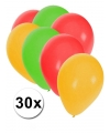 Ballonnen rood/geel/groen 30 stuks