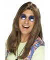 Bruine hippie herenpruik