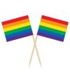 Cocktail prikkers regenboogvlag 50 stuks