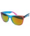 Festival zonnebril blauw met roze