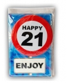Happy Birthday kaart met button 21 jaar