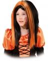 Heksenpruik voor kinderen zwart met oranje