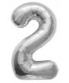 Helium ballon cijfer 2 zilver