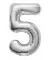 Helium ballon cijfer 5 zilver