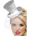 Mini hoge hoed op diadeem zilver