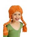 Oranje meisjespruik met vlechtjes