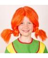 Oranje vlechten pruik voor kinderen