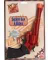 Rode Western revolver met badge