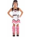 Toppers Roze met wit indianen jurkje voor meisjes