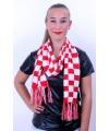 Sjaal rood/wit geblokt 160 x 17 cm