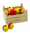 Speelgoed houten appels in kist