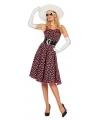Zwarte fifties jurk met roze stippen voor dames